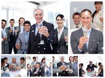 Złożony wizerunek kolaż ludzie biznesu świętuje sukces Fotografia Royalty Free