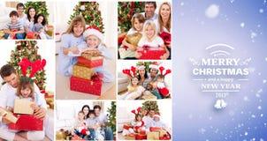 Złożony wizerunek kolaż rodziny świętuje boże narodzenia wpólnie w domu Obrazy Royalty Free
