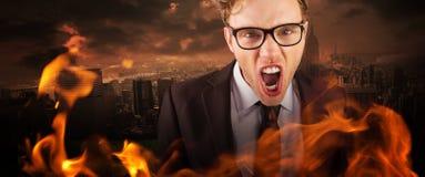 Złożony wizerunek młody gniewny biznesmen krzyczy przy kamerą Zdjęcie Stock