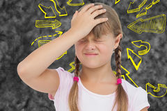 Złożony wizerunek mała dziewczynka z migreną Fotografia Royalty Free