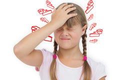Złożony wizerunek mała dziewczynka z migreną Obraz Stock
