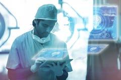 Złożony wizerunek medyczny biologia interfejs w błękitnym 3d Obrazy Royalty Free