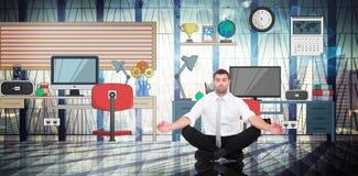 Złożony wizerunek medytuje w lotos pozie biznesmen obrazy royalty free