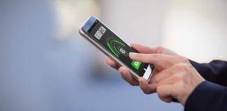 Złożony wizerunek mobilny pokaz z pamięci cleaner Fotografia Stock