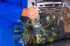 Złożony wizerunek naprawia samochodowego silnika męski mechanik Zdjęcie Royalty Free