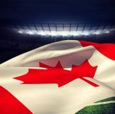 Złożony wizerunek niskiego kąta widok kanadyjczyk flaga obrazy royalty free