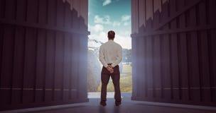 Złożony wizerunek obraca jego plecy kamera 3d biznesmen Zdjęcie Stock