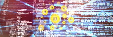 Złożony wizerunek ochrona kędziorek przeciw światowej mapie zdjęcie royalty free