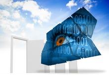 Złożony wizerunek oko i binarny kod na abstrakta ekranie Fotografia Stock