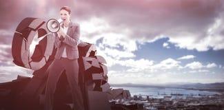 Złożony wizerunek opowiada na megafonie bizneswoman Zdjęcie Stock