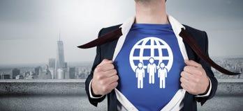 Złożony wizerunek otwiera jego koszulowego bohatera styl biznesmen Fotografia Royalty Free