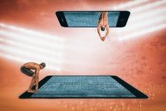 Złożony wizerunek pływaczki narządzanie nurkować Zdjęcie Stock