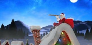 Złożony wizerunek patrzeje przez teleskopu Santa Claus Obraz Royalty Free