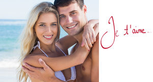 Złożony wizerunek piękny pary przytulenie, ono uśmiecha się i Obraz Royalty Free