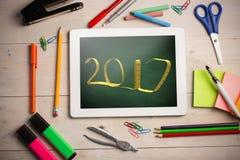 Złożony wizerunek pisać z taśmy miarą 3D nowy rok Zdjęcia Stock