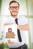 Złożony wizerunek pokazuje jego pastylka komputer osobistego geeky biznesmen zdjęcie royalty free
