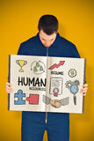 Złożony wizerunek pokazuje książkę ręczny pracownik Fotografia Stock