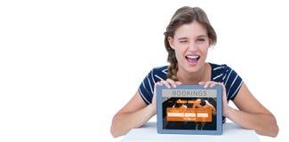 Złożony wizerunek pokazuje pastylka komputer osobistego kobieta ilustracji