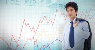 Złożony wizerunek portret biznesmen trzyma teczkę i jego kurtkę na jego ramieniu Fotografia Stock