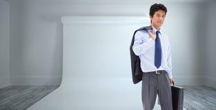 Złożony wizerunek portret biznesmen trzyma teczkę i jego kurtkę na jego ramieniu Obrazy Royalty Free