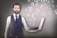 Złożony wizerunek portret biznesmena mienia laptop Obrazy Royalty Free