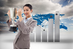 Złożony wizerunek portret bizneswoman trzyma filiżankę Obrazy Royalty Free