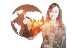 Złożony wizerunek portret dotyka niewidzialnego ekran bizneswoman Zdjęcie Stock