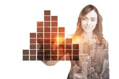Złożony wizerunek portret dotyka niewidzialnego ekran bizneswoman Zdjęcia Stock