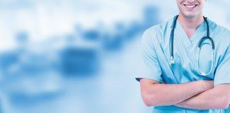 Złożony wizerunek portret męskie chirurg pozyci ręki krzyżować Zdjęcia Stock