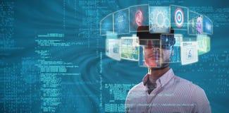 Złożony wizerunek portret trzyma wirtualnych szkła 3d biznesmen Obrazy Royalty Free