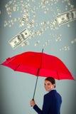 Złożony wizerunek portret uśmiechnięty bizneswomanu mienia czerwieni parasol Zdjęcie Royalty Free
