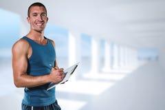 Złożony wizerunek portret ufny sporta trenera writing na schowku Obrazy Royalty Free