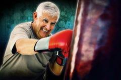 Złożony wizerunek portret zdecydowany starszy bokser fotografia stock