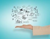 Złożony wizerunek przedstawia żeńska ręka obliczający ikonę Obrazy Stock