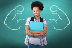 Złożony wizerunek przypadkowa młoda kobieta z falcówką w biurze Fotografia Stock