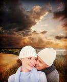 Złożony wizerunek przypadkowa para w ciepłej odzieży zdjęcie stock