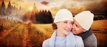 Złożony wizerunek przypadkowa para w ciepłej odzieży fotografia royalty free