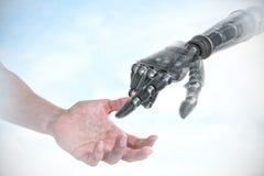 Złożony wizerunek ręka udaje trzymać niewidzialnego przedmiot mężczyzna Zdjęcia Stock