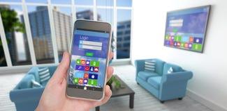 Złożony wizerunek ręki mienia telefon komórkowy przeciw białemu tłu Obrazy Stock