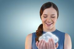 Złożony wizerunek radosna młoda kobieta z rękami cupped 3d Obrazy Royalty Free