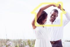Złożony wizerunek romantyczny para taniec, ono uśmiecha się i Zdjęcia Stock