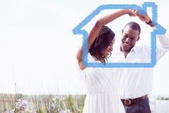 Złożony wizerunek romantyczny para taniec, ono uśmiecha się i Obraz Royalty Free