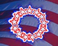 Złożony wizerunek rozjarzona oryginalna kolonialna flaga amerykańska z 13 gwiazdami obrazy stock