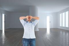 Złożony wizerunek rozkrzyczana mężczyzna pozycja Zdjęcia Stock