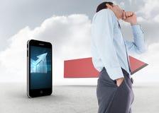 Złożony wizerunek rozważny biznesmen z ręką na podbródku Obraz Stock