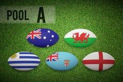 Złożony wizerunek rugby pucharu świata basen a Zdjęcie Royalty Free