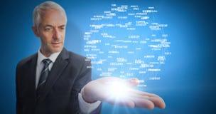 Złożony wizerunek skoncentrowany biznesmen z palmą up Obraz Royalty Free