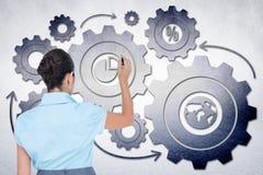 Złożony wizerunek skoncentrowany biznesmena writing z markierem zdjęcia stock