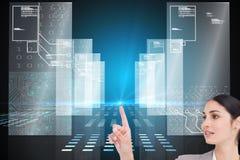 Złożony wizerunek sprzedawczyni operacyjny ekran sensorowy Obrazy Stock