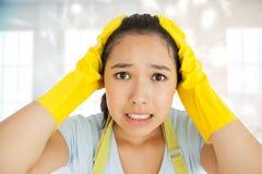 Złożony wizerunek stresująca się out kobieta Fotografia Stock